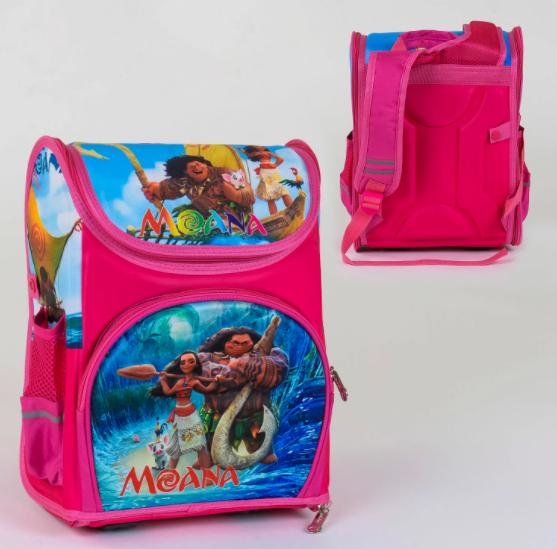 Детский Рюкзак Портфель школьный каркасный для девочки C 36167 с ортопедической спинкой Моана 3D принт розовый