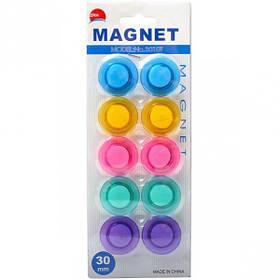 """Магнит для доски """"Цветной"""" 10 штук T-3010, D3см"""