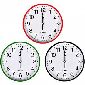 """Настінні годинники Х2-39 """"Коло"""" кольоровий корпус, білий циферблат 25,5*4см 6025"""