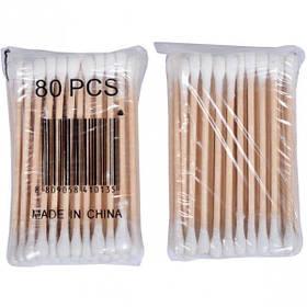 Вушні палички бамбукові 80шт, 75мм, 9*7*2см 7034-80
