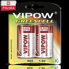 Батарейка Vipow - Greencell (BAT0084B) D (2 шт. / блистер)