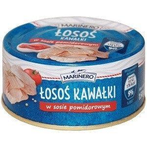 Лосось цільними шматками в томатному соусі Marinero Losos, 185м, Польща, консерва в жерстяній банці