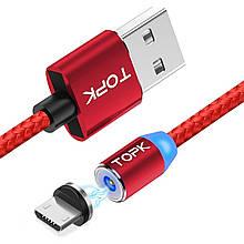 Кабель магнітний USB TOPK (R-line) Micro USB (100 см) Red