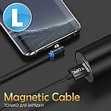 Кабель магнітний USB TOPK (L-line) Micro USB (100 см) Blue, фото 2