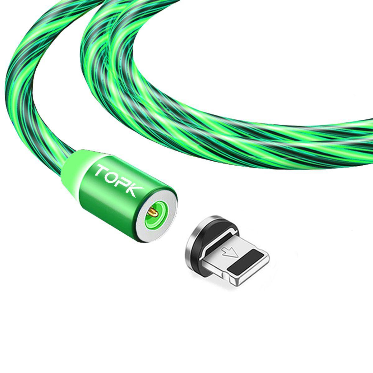 Кабель магнітний USB TOPK (LED Z-line) Apple-lightning (100 см) Green