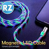 Кабель магнітний USB TOPK (LED Z-line) Apple-lightning (100 см) Green, фото 5