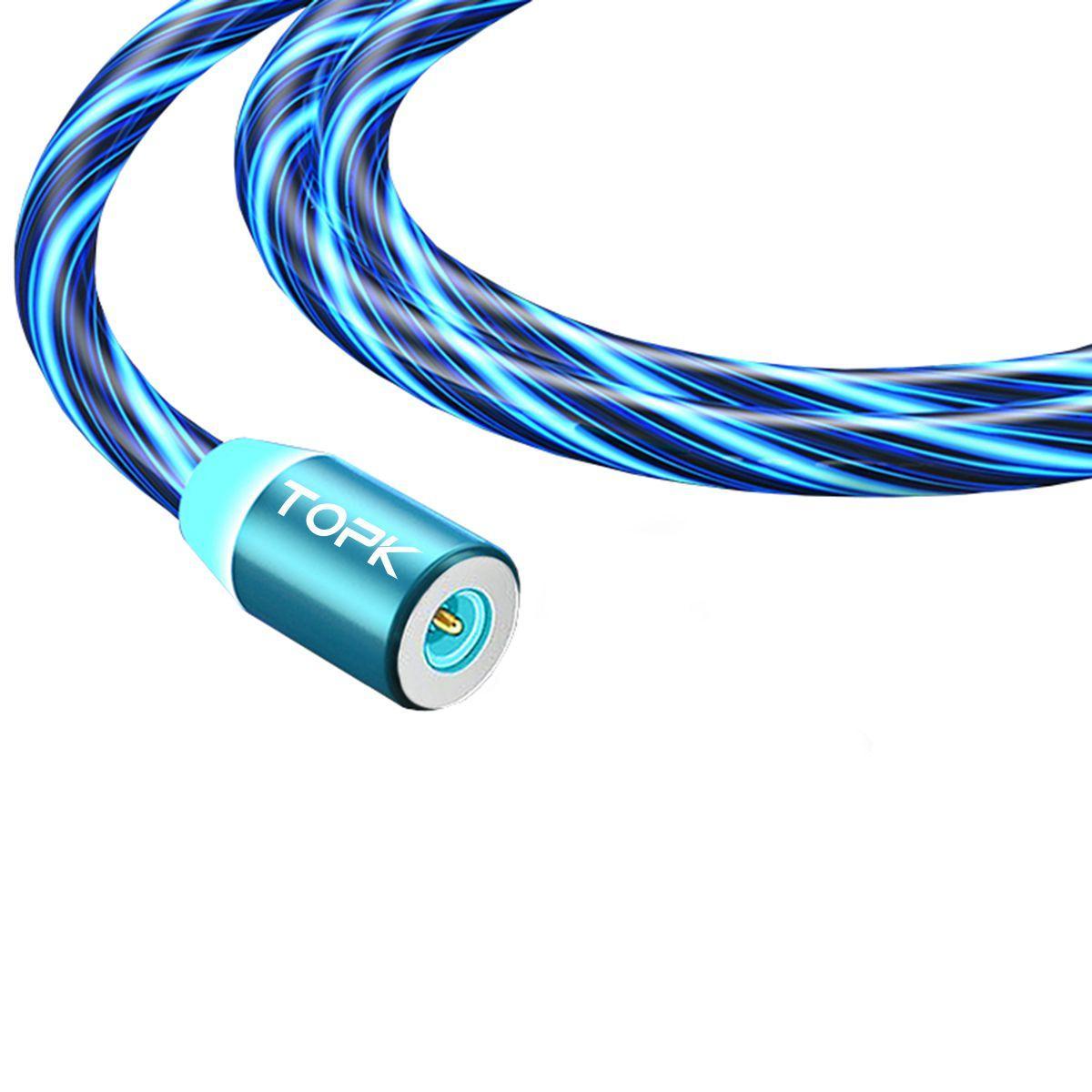 Кабель магнитный USB TOPK (LED Z-line) Micro USB (100 см) Blue