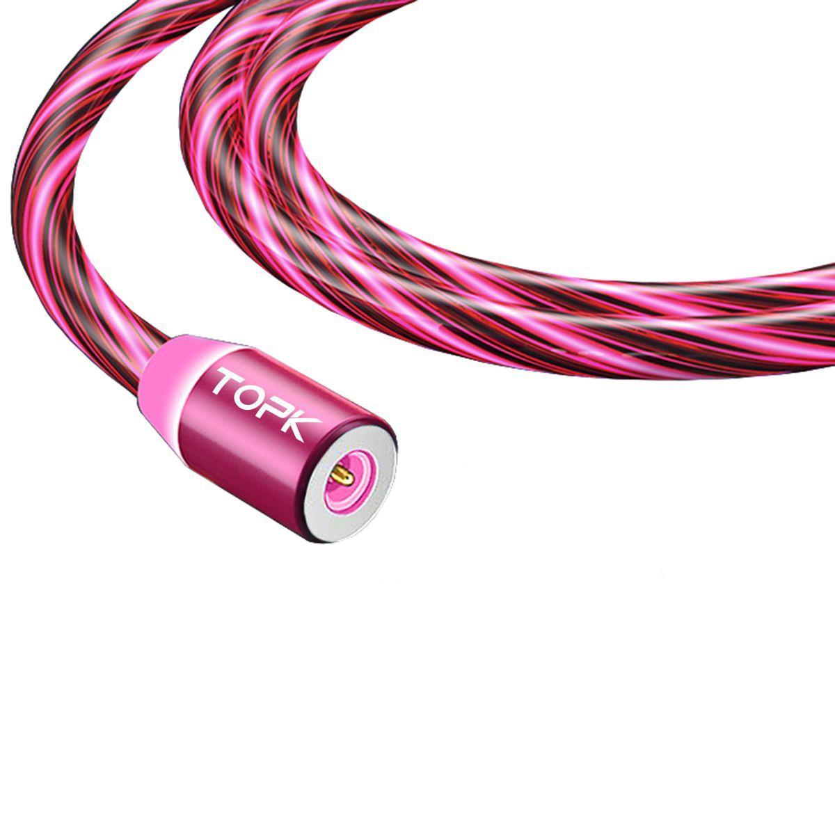 Кабель магнітний USB TOPK (LED Z-line) Micro USB (100 см) Red