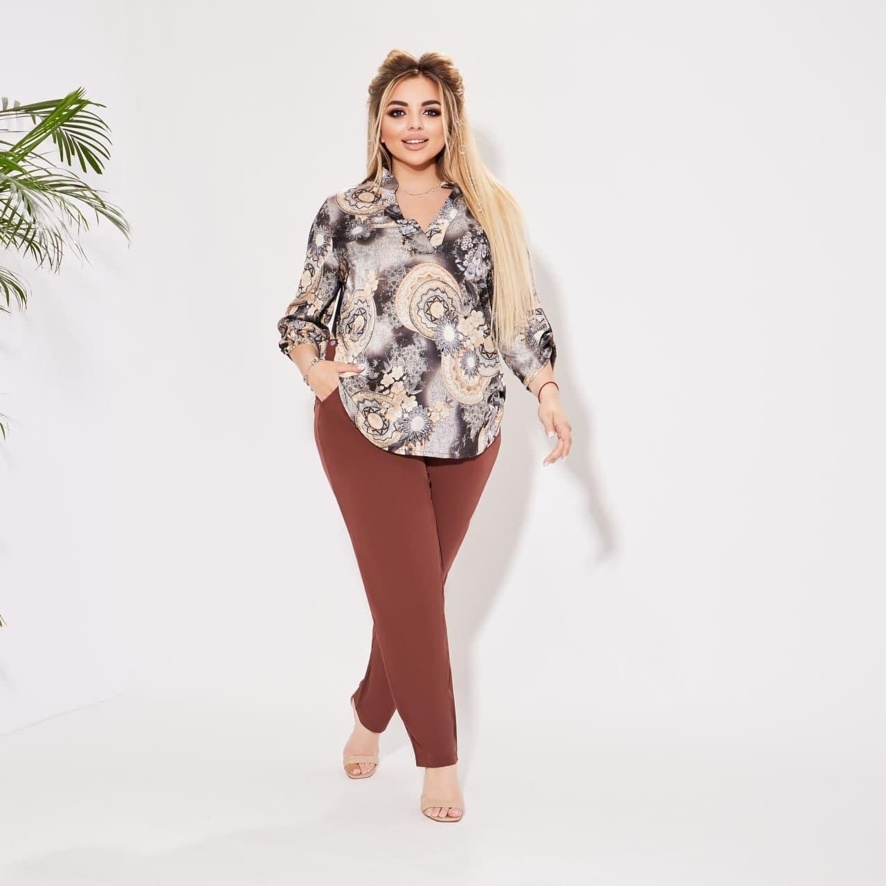 Жіночий літній брючний костюм двійка блуза і штани розмір батал: 50-52 54-56,58-60