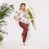 Жіночий літній брючний костюм двійка блуза і штани розмір батал: 50-52 54-56,58-60, фото 6