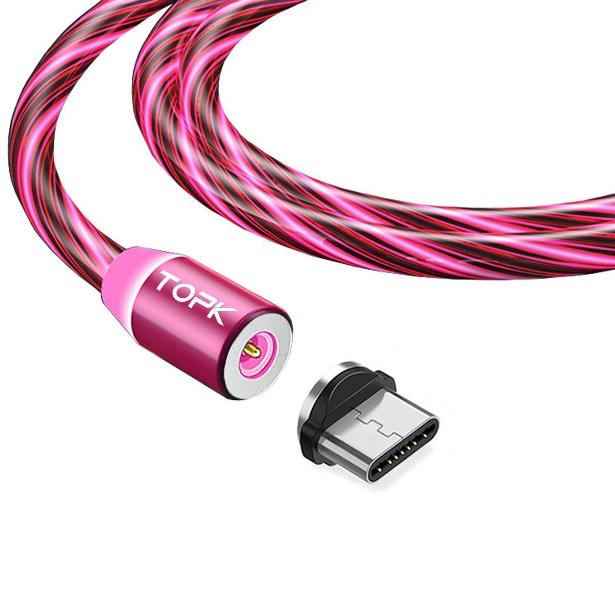 Кабель магнітний USB TOPK (LED Z-line) Type-C (100 см) Red