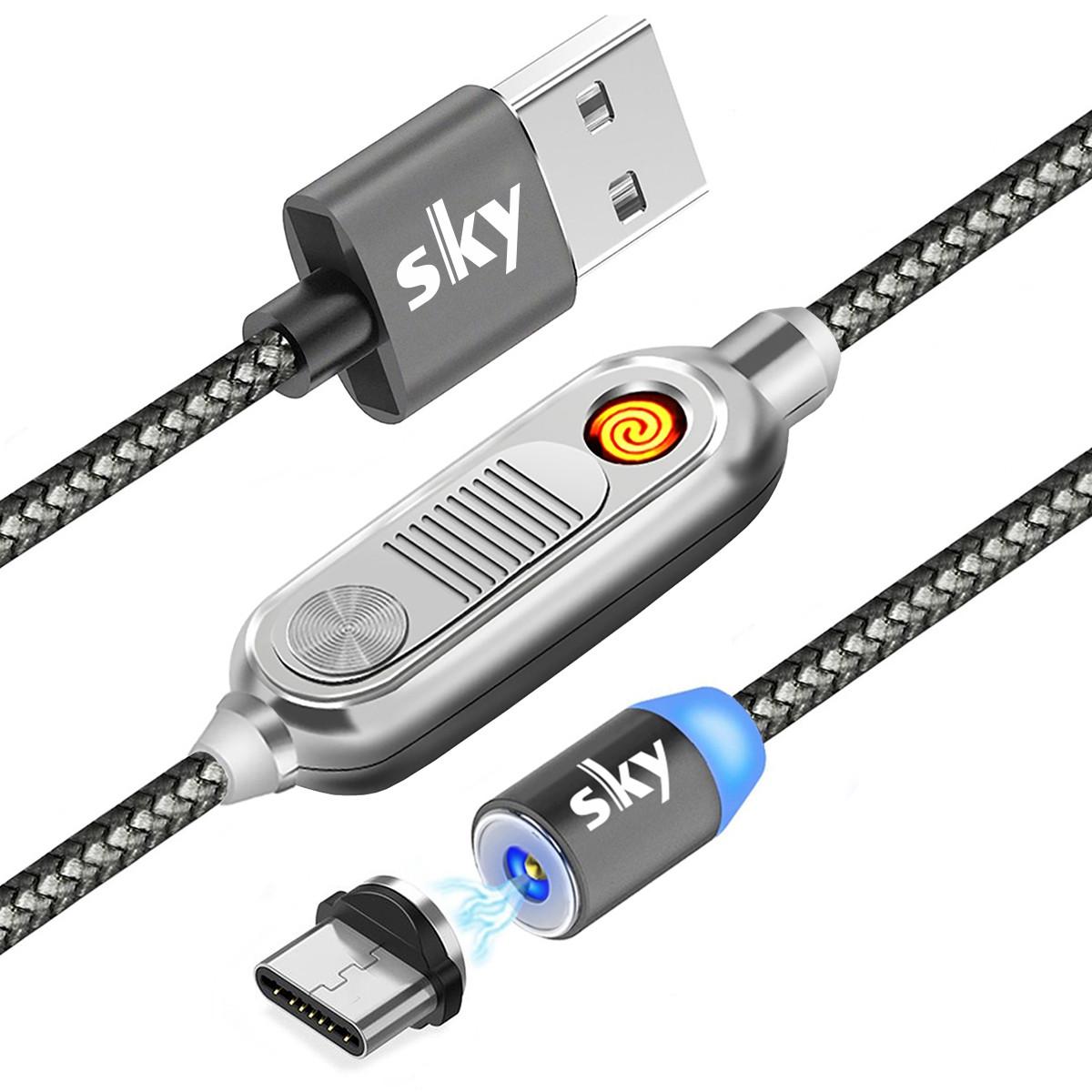 Кабель магнитный USB SKY с прикуривателем (R ZIP-line) Type-C (120 см) Grey