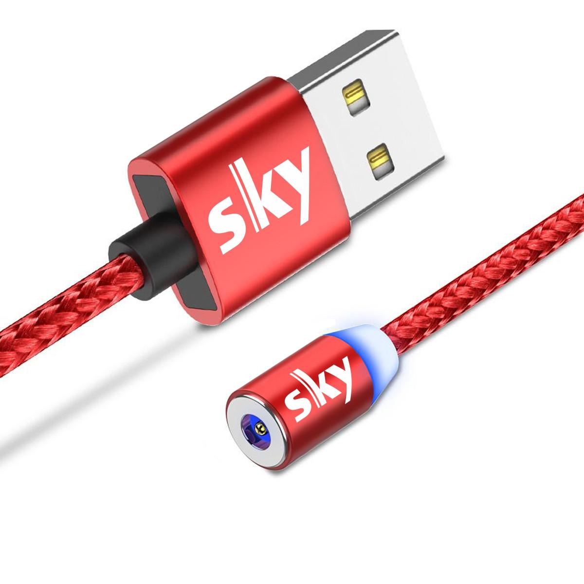 Кабель магнитный USB SKY (R-line) без коннектора (100 см) Red