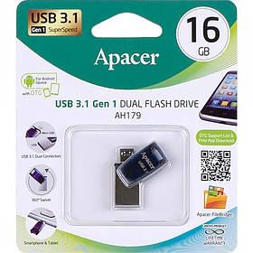 Флешка USB Apacer 16Gb AH179 microUSB blue USB OTG 3.1 AP16GAH179U-1 913500/064482