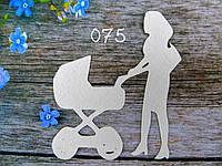 """Вырубка для скрапбукинга """"Мама с коляской № 2"""""""