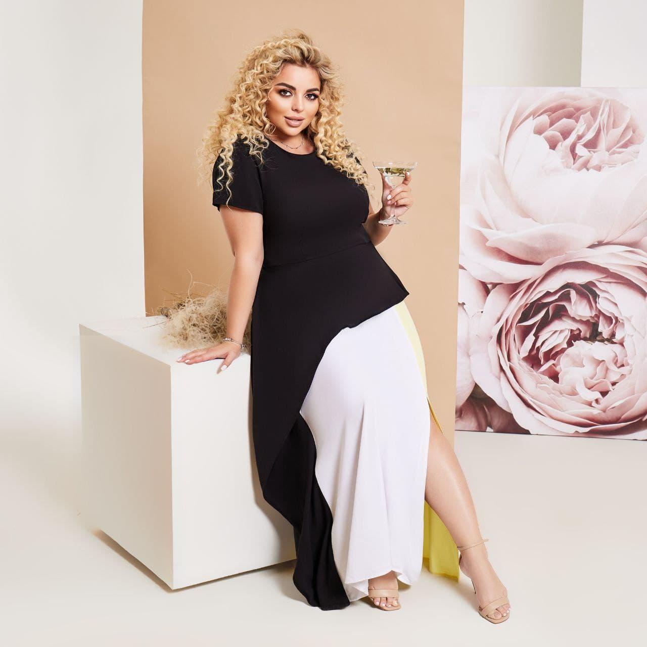 Женское длинное платье ткань штапель короткий рукав размер: 48-50, 52-54, 56-58