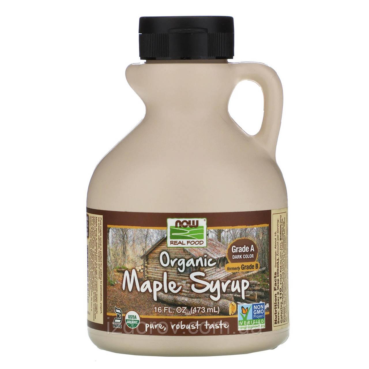 Now Foods, Органічний Кленовий сироп, клас A, темного кольору, Organic Maple Syrup, 473 мл