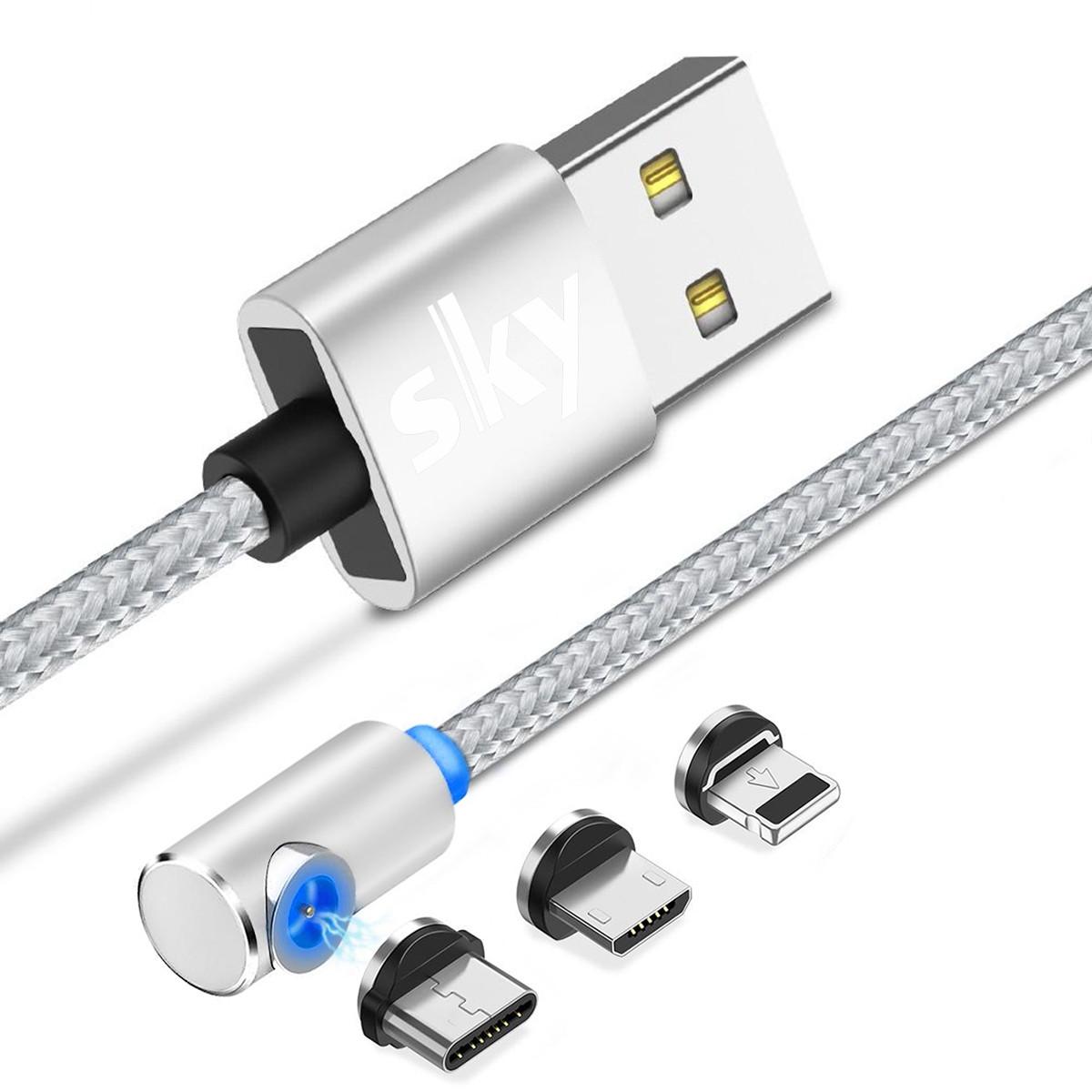 Магнітний кабель SKY 3в1 (L) для заряджання (100 см) Silver