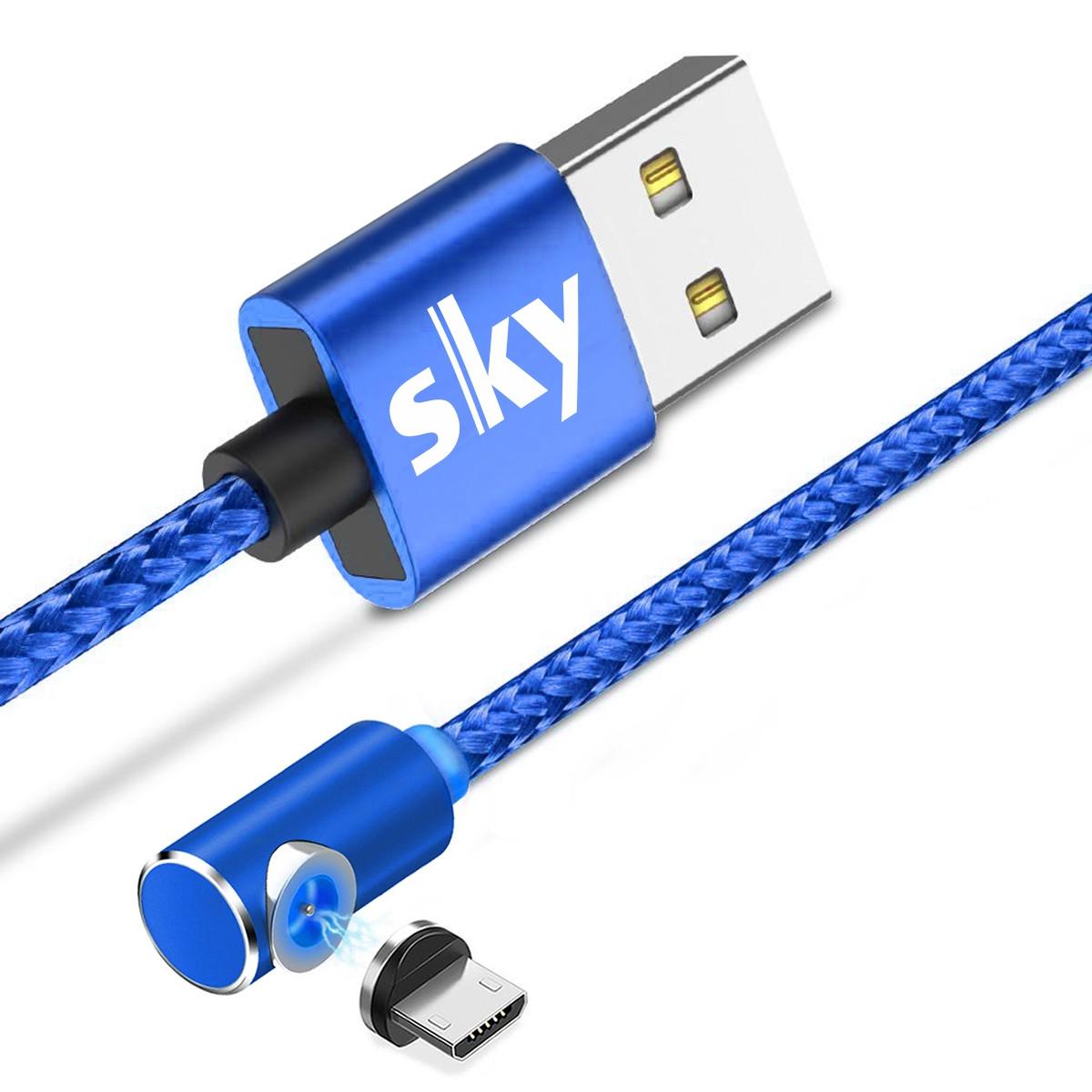 Магнітний кабель SKY microUSB (L) для заряджання (100 см) Blue