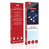 Магнітний кабель SKY microUSB (L) для заряджання (100 см) Blue, фото 6