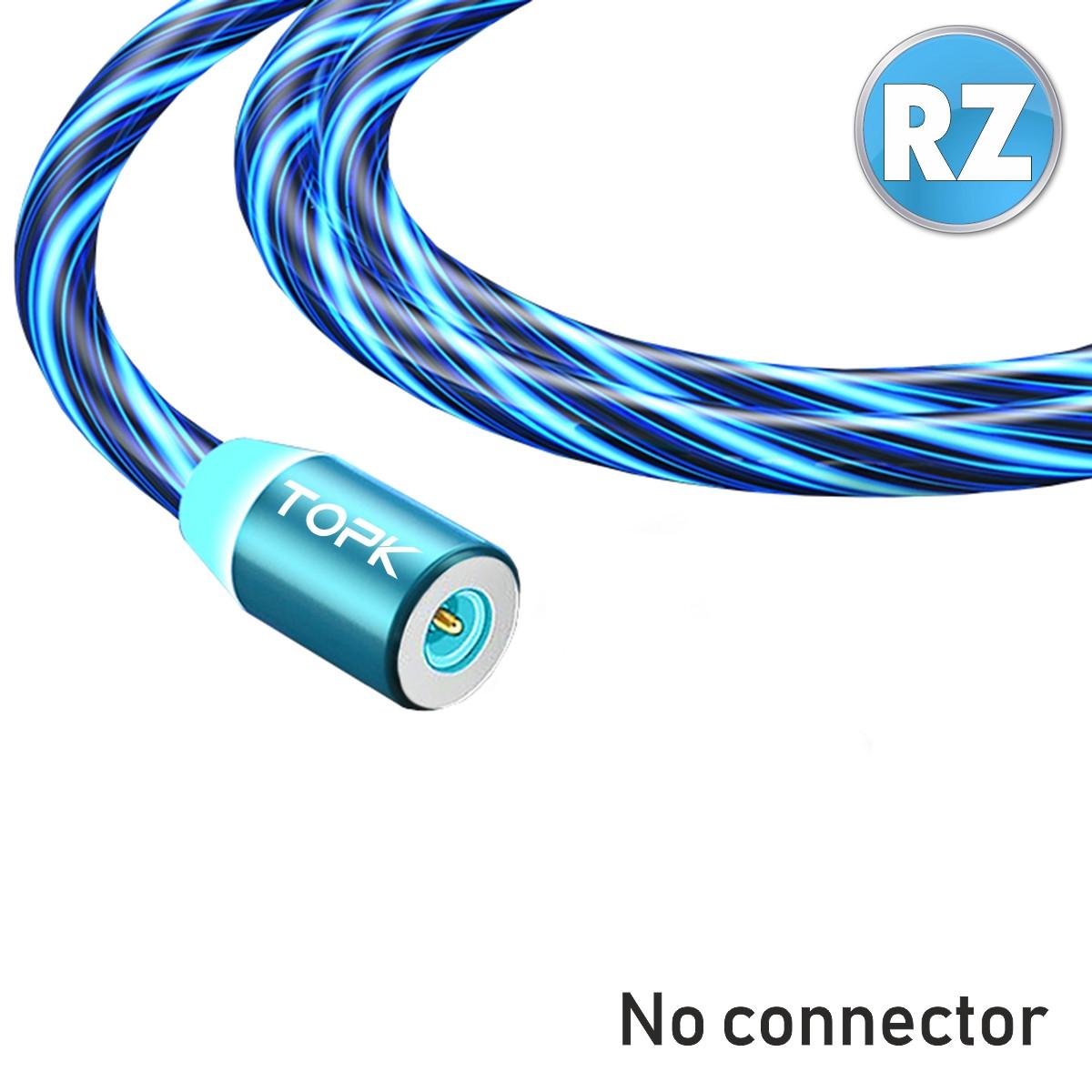Магнітний кабель TOPK без коннектора (RZ) для заряджання (100 см) Blue