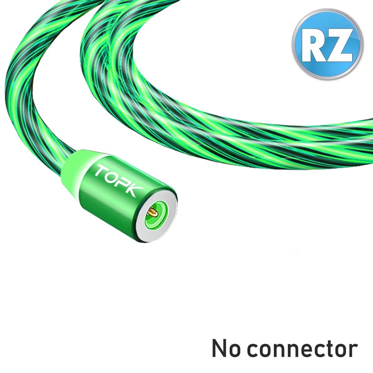 Магнитный кабель TOPK без коннектора (RZ) для зарядки (100 см) Green