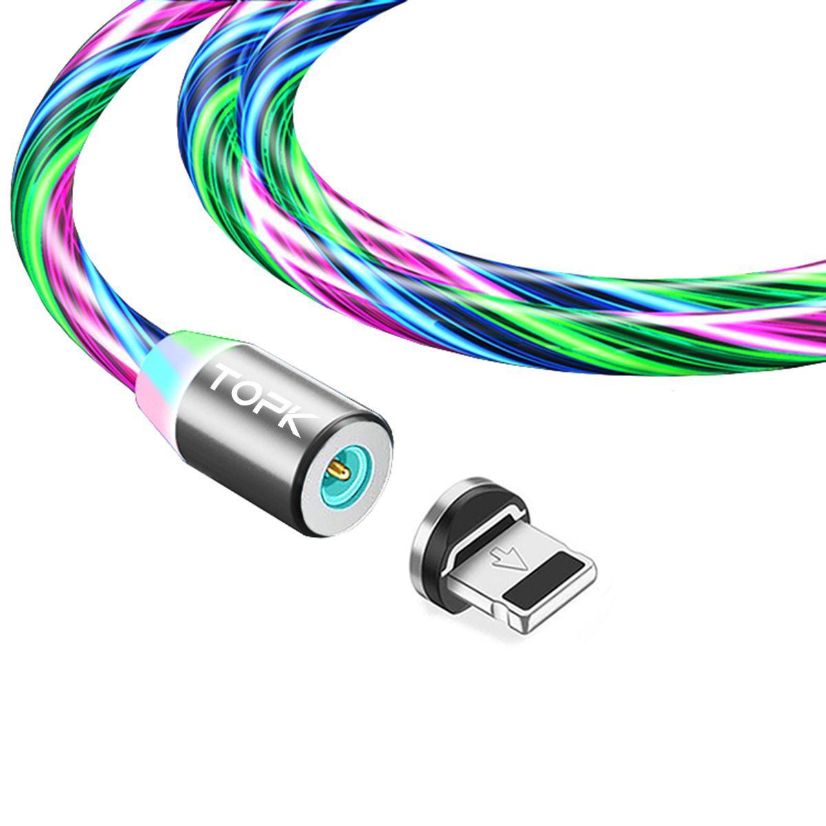 Магнітний кабель TOPK apple-lightning (RZ) для заряджання (100 см) RGB