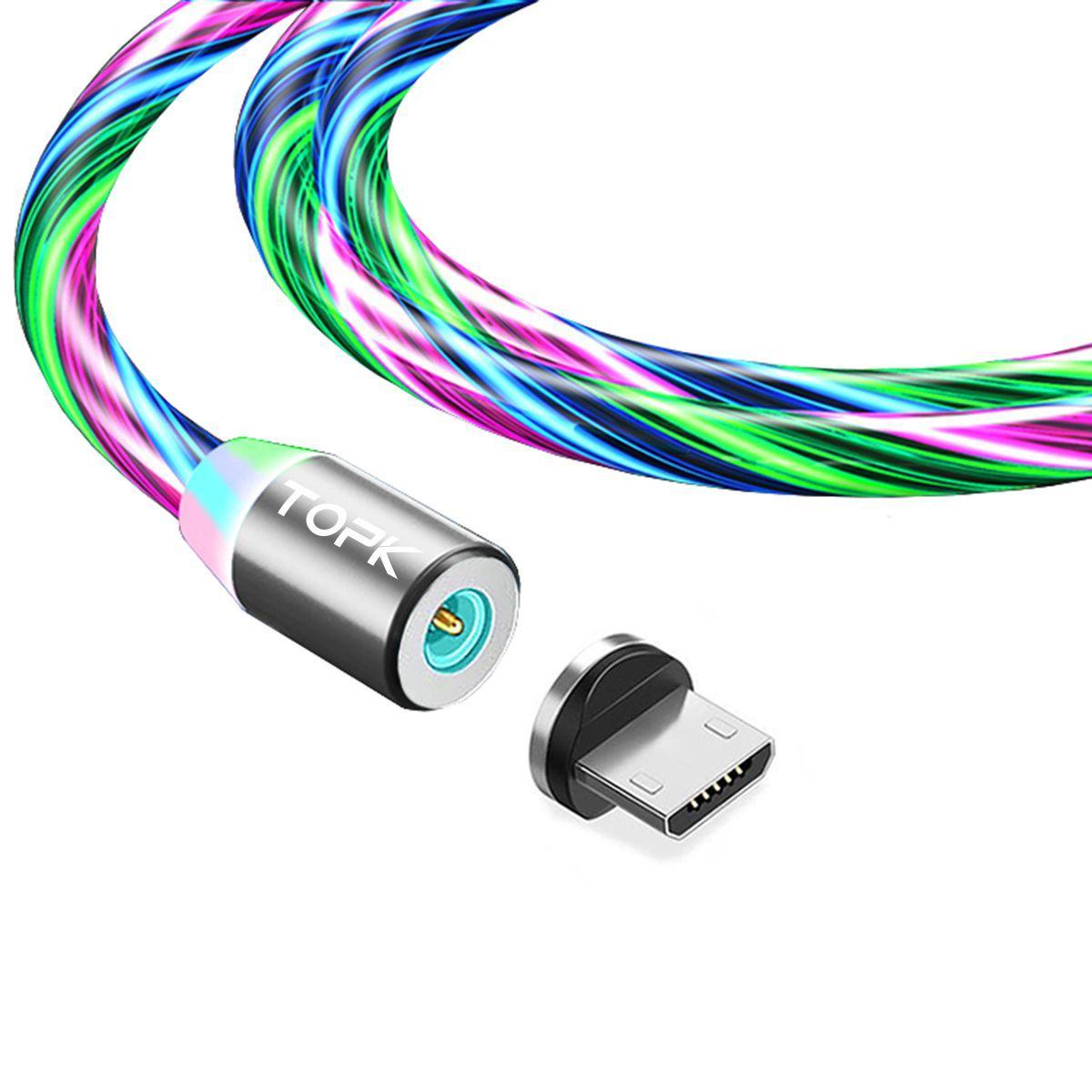 Магнитный кабель TOPK micro USB (RZ) для зарядки (100 см) RGB