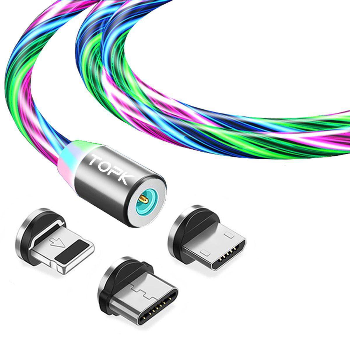 Магнітний кабель TOPK 3в1 (RZ) для заряджання (100 см) RGB