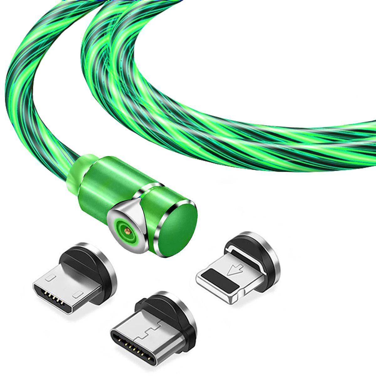 Магнитный кабель TOPK 3в1 (LZ) для зарядки (100 см) Green