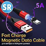 Магнитный кабель TOPK (AM60) micro USB (SR 5A-20) для зарядки и передачи данных (100 см) Red, фото 5