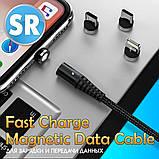 Магнітний кабель TOPK (AM68) apple-lightning (SR 3A-30) для заряджання і передачі даних (100 см) Black, фото 5