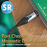 Магнітний кабель TOPK (AM38) apple-lightning (SR 3A-40) для заряджання і передачі даних (100 см) Blue, фото 5
