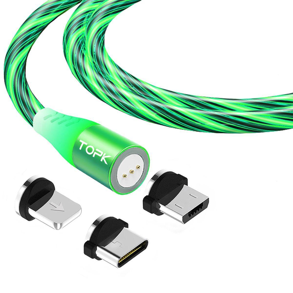 Магнітний кабель TOPK (AM16) 3в1 (SRZ 5A) для заряджання і передачі даних (100 см) Green