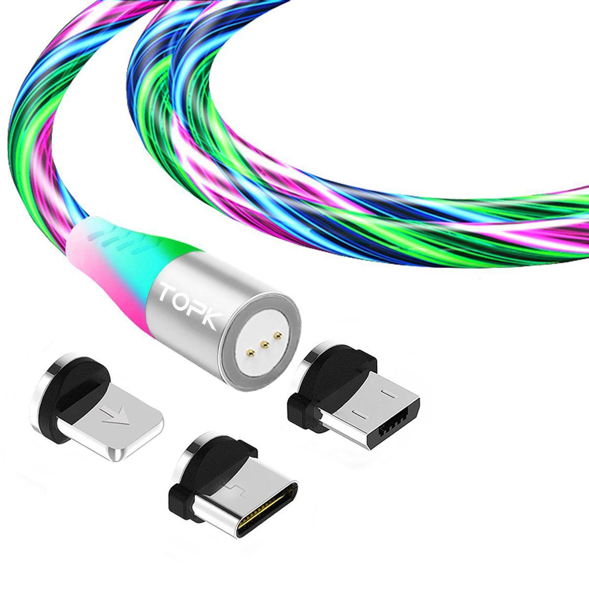 Магнітний кабель TOPK (AM16) 3в1 (SRZ 5A) для заряджання і передачі даних (100 см) RGB