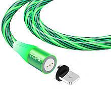 Магнитный кабель TOPK (AM16) apple-lightning (SRZ 5A) для зарядки и передачи данных (100 см) Green