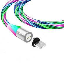 Магнитный кабель TOPK (AM16) apple-lightning (SRZ 5A) для зарядки и передачи данных (100 см) RGB