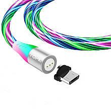 Магнитный кабель TOPK (AM16) micro USB (SRZ 5A) для зарядки и передачи данных (100 см) RGB
