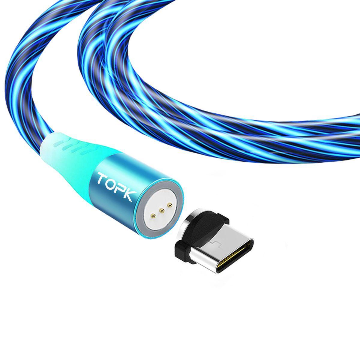 Магнітний кабель TOPK (AM16) type C (SRZ 5A) для заряджання і передачі даних (100 см) Blue