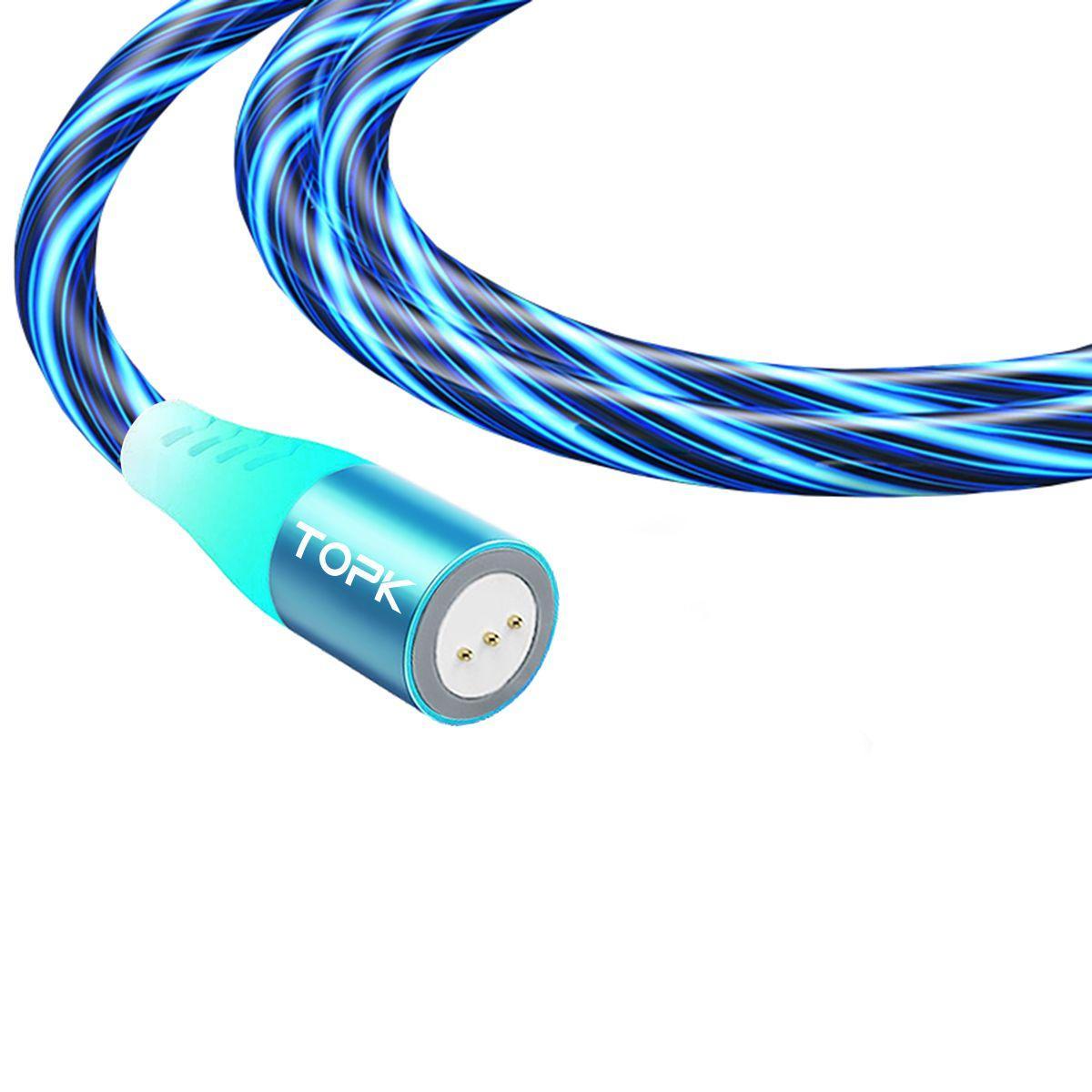Магнітний кабель TOPK (AM16) без коннектора (SRZ 5A) для заряджання і передачі даних (100 см) Blue