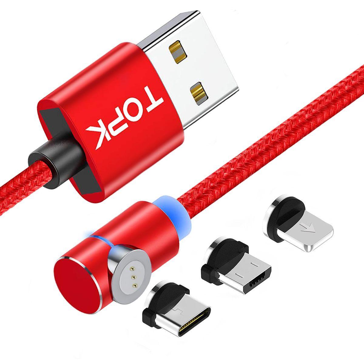 Магнітний кабель TOPK (AM69) 3в1 (SL 3A) для заряджання і передачі даних (100 см) Red
