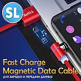Магнитный кабель TOPK (AM69) apple-lightning (SL 5A) для зарядки и передачи данных (100 см) Blue, фото 5
