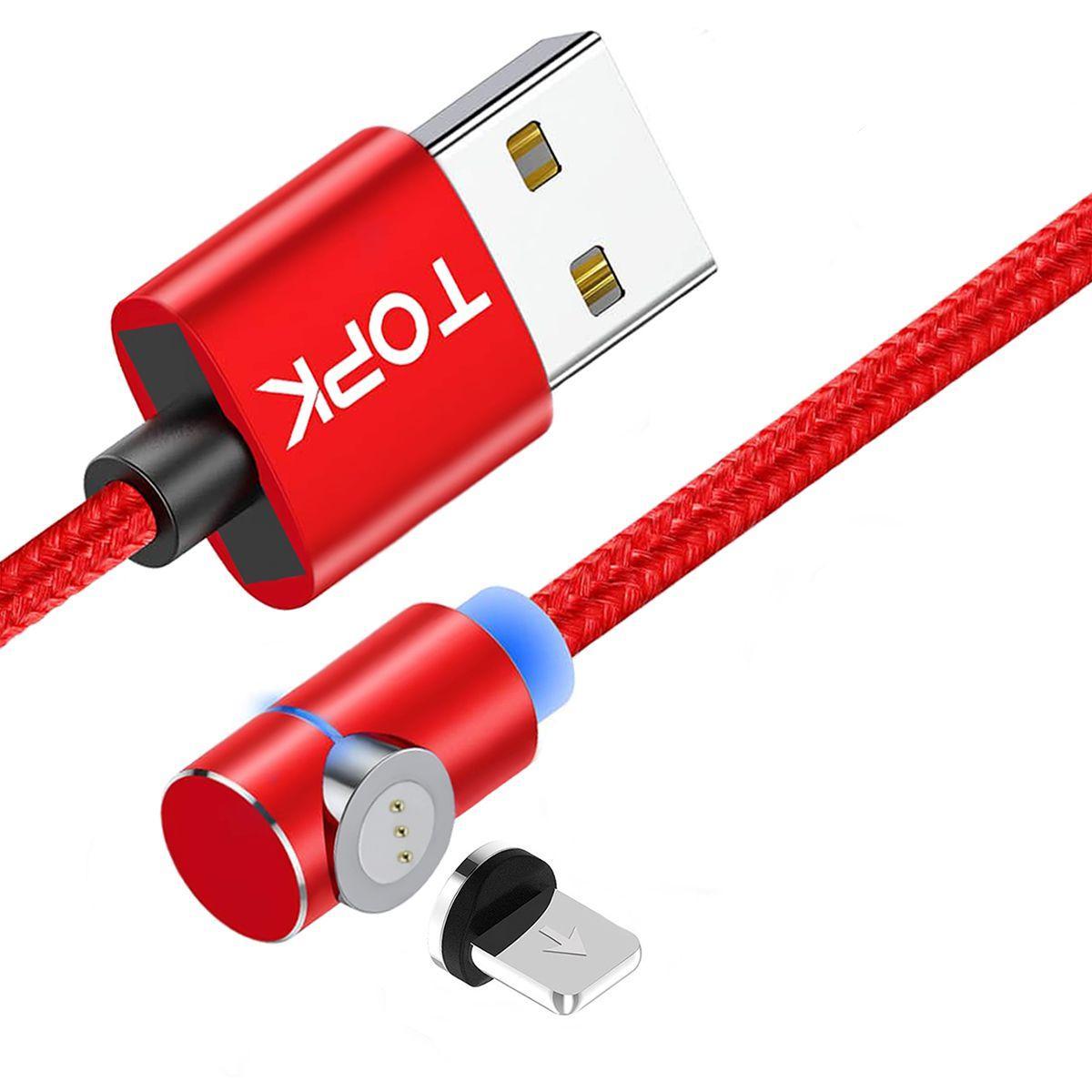 Магнітний кабель TOPK (AM69) apple-lightning (SL 5A) для заряджання і передачі даних (100 см) Red