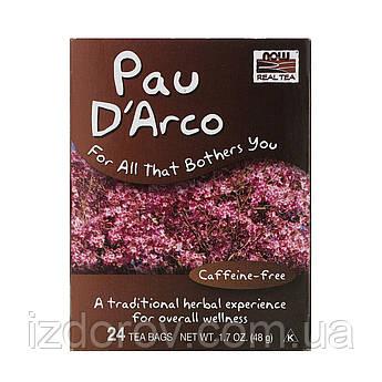 Now Foods, Pau D'Arco, Чай из коры муравьиного дерева Пау Д'Арко, без кофеина, 24 пакетика, 48 г