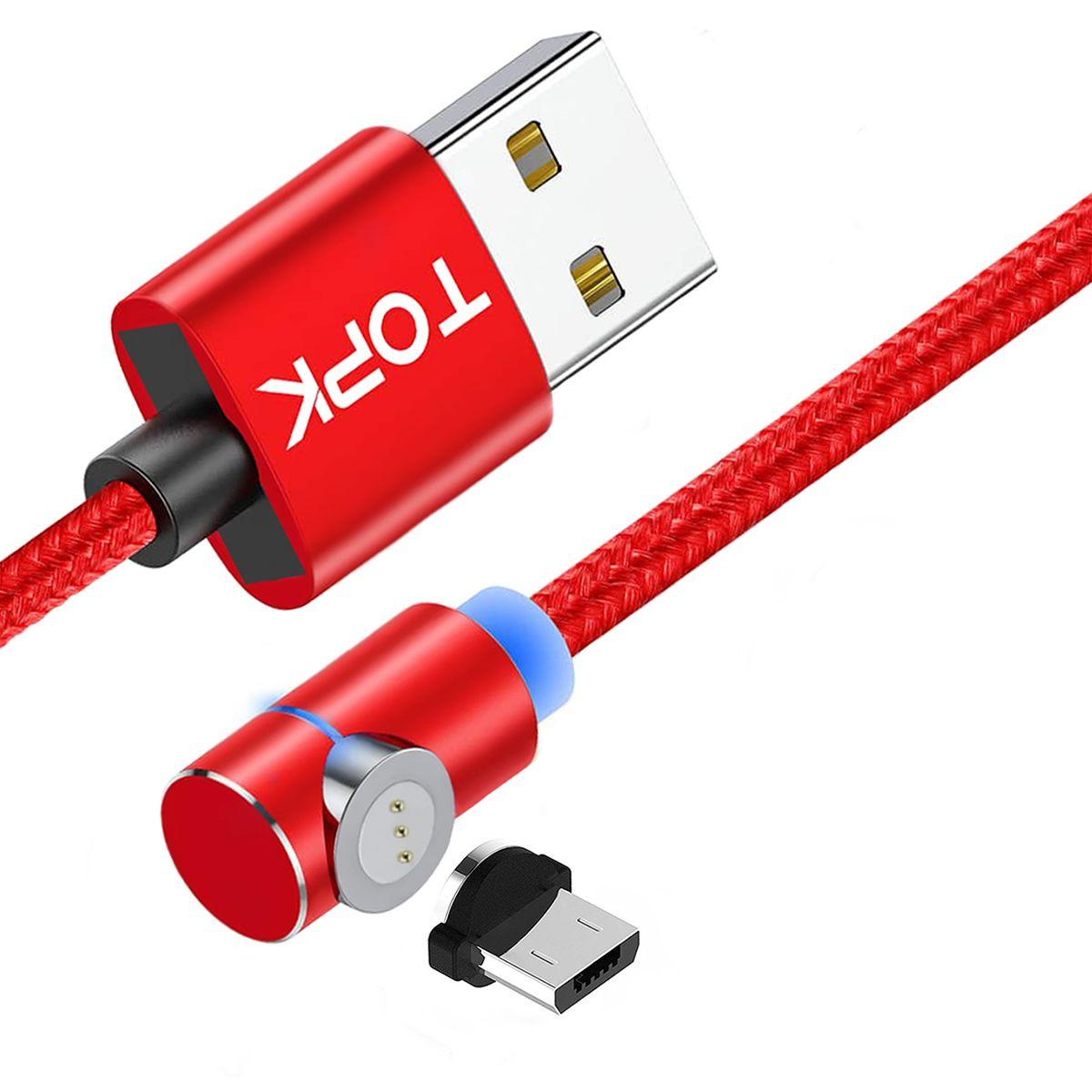 Магнітний кабель TOPK (AM69) micro USB (SL 5A) для заряджання і передачі даних (100 см) Red