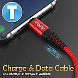 Кабель TOPK USB (T2) micro USB (200 см) Black, фото 2