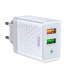Зарядное устройство TOPK (BC B254Q) QC 3.0/2USB (28W) White