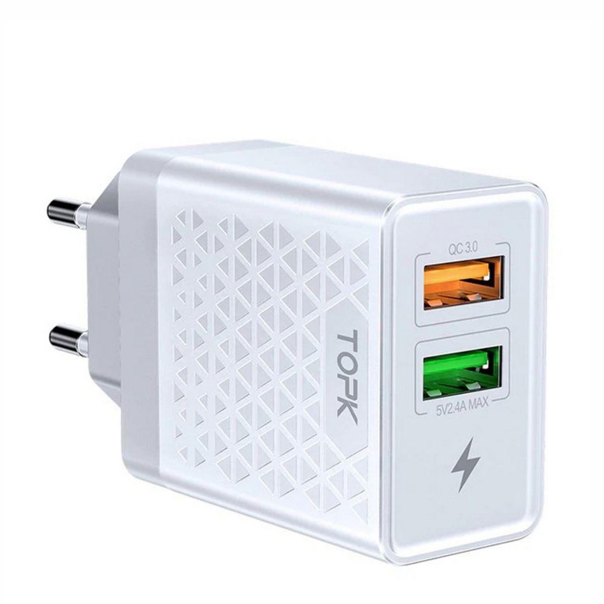 Зарядний пристрій TOPK (BC B254Q) QC 3.0/2USB (28W) White