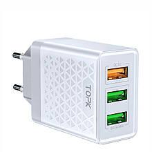 Зарядное устройство TOPK (BC B354Q) QC 3.0/3USB (30W) White