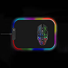 Коврик для мышки SKY (FG-S) Black RGB подсветка 25x35 см